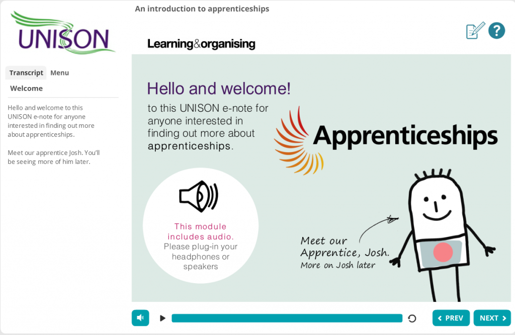 Screenshot of Introduction to Apprenticeships e-note