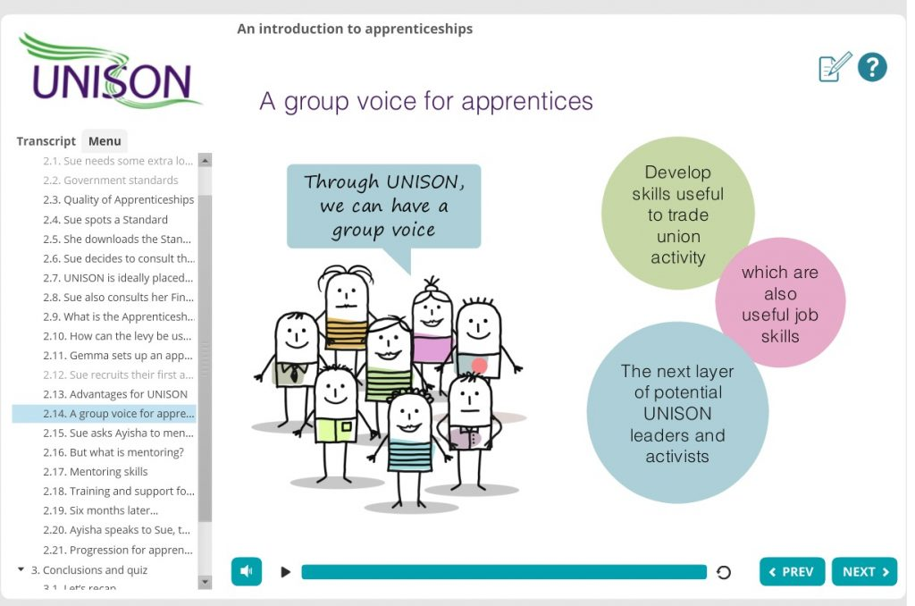 Screenshot of apprenticeships e-note